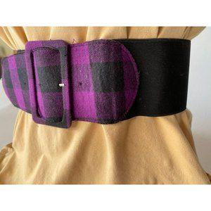 Purple Buffalo Plaid Wide Stretch Belt